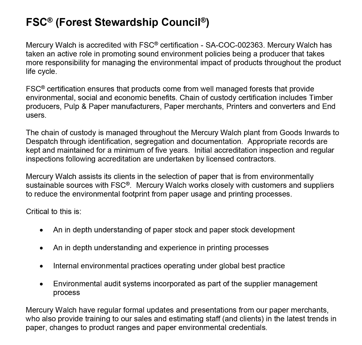 FSC - Policy Statement